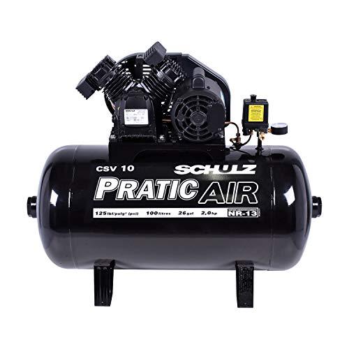 Compressor De Ar Alternativo Estacionario De Pistao Modelo Csv10/100 C/motor Monofasico 2p60hz2cv220v Pratic Air Schulz