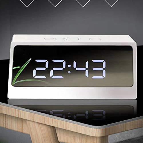 Aobay Espejo LED Reloj de Mesa Digital Perpetual Calendario Termómetro Fecha Mostrar Reloj Despertador Relojes de Escritorio (Color : Blanco)