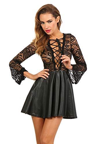 Miss Noir - Minivestido de fiesta sexy con aspecto mojado de encaje Guipure, corsé con cordones Negro  S