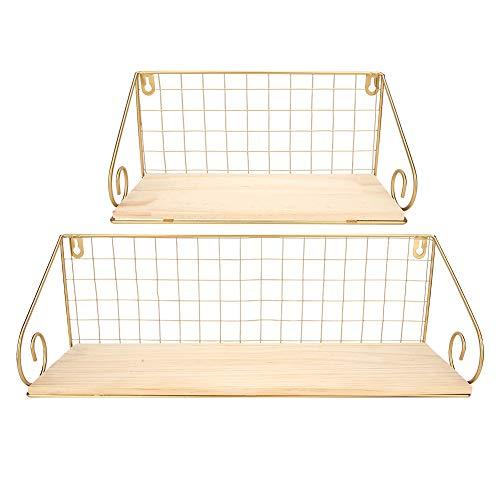 Wandplank, 2 stuks houten plank ijzeren frame muur opknoping plank opbergrek organisator home decor ornament(Goud)