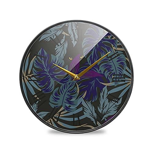 Ojos Tropicales De La Noche Oscura Púrpura Arte Reloj de Pared Silencioso Decorativo Relojs para Niños Niñas Cocina Hogar Oficina Escuela Decoración