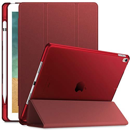 INFILAND Hülle für iPad Air 10,5'' 2019 (3. Generation) / iPad Pro 10,5 2017, iPad Air 3 Hülle, Superleicht Durchscheinend Gefrostet Hülle mit Apple Pencil Halter, Auto Schlafen/Wachen,Rotwein