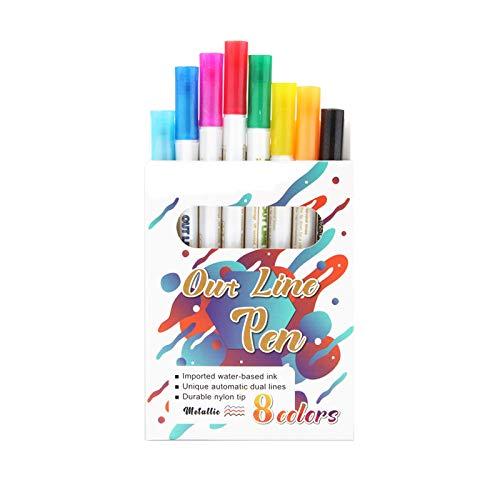 Outline - Rotuladores de doble línea metálicos, 8 colores, para escribir a mano, tarjetas de Navidad, libro de visitas, álbum de fotos, scrapbooking, accesorios, planificador