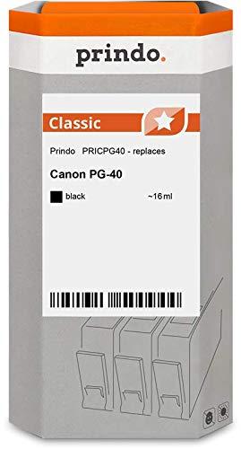 Prindo Canon PG-40 (0615B001) Schwarz Tintenpatrone - Alternative Druckerpatronen - Druckerzubehör geeignet für Verschiedene Canon Drucker