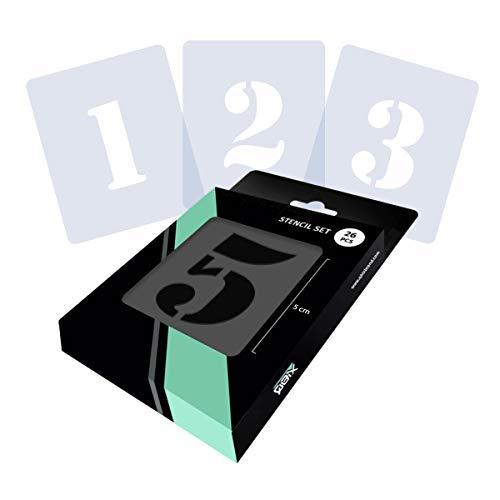 QBIX Zahlen Schablonenset, Symbole Schablonenset - Schablonenschrift - Zahlenhöhe 7cm - Wiederverwendbare Malerei, Kunsthandwerk, Wand, Möbel Schablone