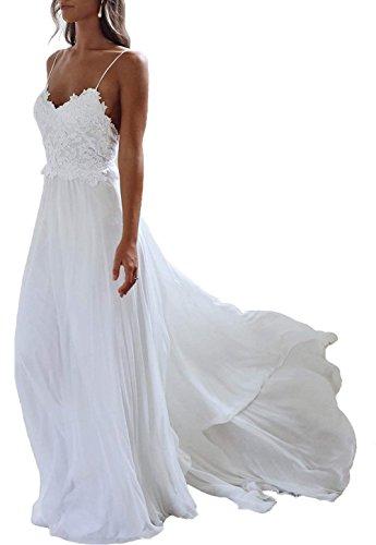 JAEDEN Brautkleid Lang Hochzeitskleider Boho Brautmode Strand Chiffon Spitze Rückenfrei Elfenbein EUR42