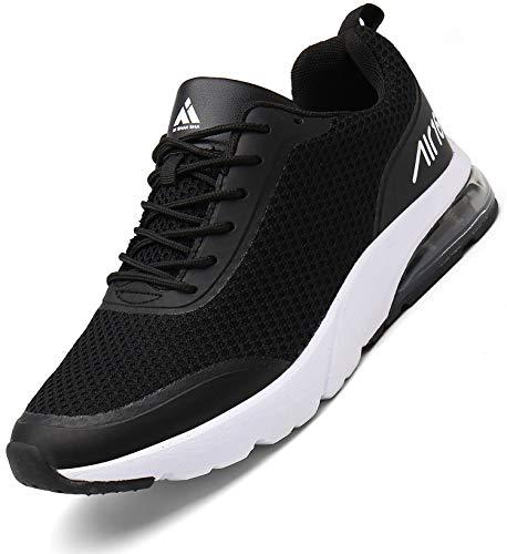 Zapatillas Fitness Hombre Aire Libre y Gimnasio Deporte Sneakers Casual Transpirables Zapatos St.1 Negro 45 EU