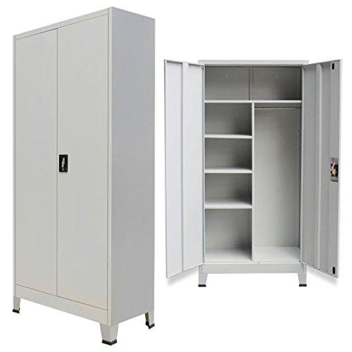 Vislone Armario de Almacenaje Taquilla para Oficina o Habitación Armario Archivador de Oficina Armario de Oficina Acero con 6 Compartimentos y 2 Puertas 90x40x180cm Gris