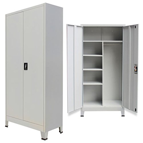 Festnight Office Locker Cabinet Wardrobe Storage with 6 Compartments & 2 Doors, 3-Point Locking System with 2 Keys Steel Room Decor 35.4'x15.7'x70.9' Gray