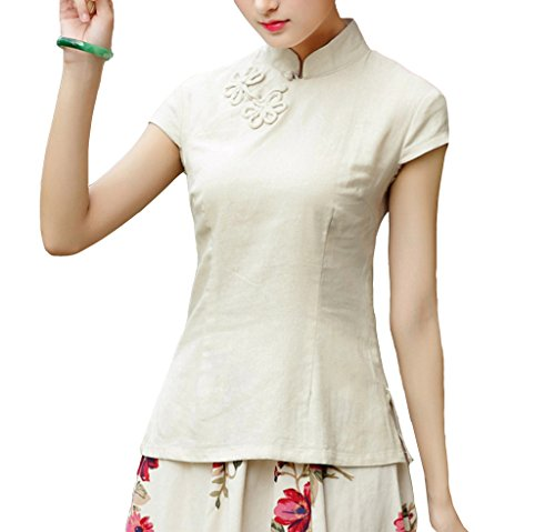 Yue Lian Damen Sommer Lässig Klassisch Cheongsam Bluse Chinesische Stil Kurzarm Qipao Top(China XL : EU 38,Beige)