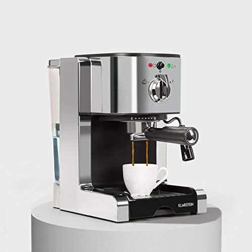 Klarstein Passionata 20 - Espressomaschine, Espresso-Automat, Kaffee-Maschine, 1350 Watt, 1,25 Liter, automatischer Druckablass, inkl. Milchschaum Düse für Zubereitung von Cappuccino, silber