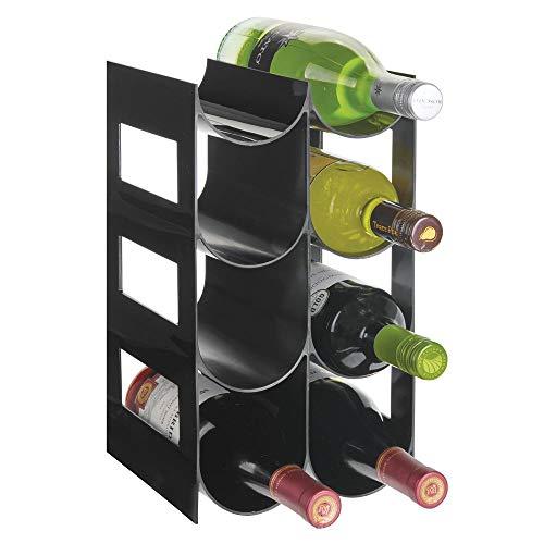 mDesign praktisches Wein- und Flaschenregal – Weinregal Kunststoff für bis zu 8 Flaschen – freistehendes Regal für Weinflaschen oder andere Getränke – schwarz