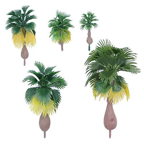 Vosarea 12 unids Modelo Palmera Paisaje Árbol Modelo Plástico Artificial Parte Superior Collection de Hada Miniatura Jardín Terrario Decoración Mini árbol con Hojas