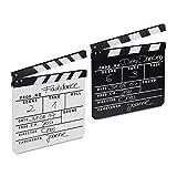 Relaxdays Pack de 2 Claquetas Cine para Escribir, Madera, Blanco y Negro, 26 x 30 cm