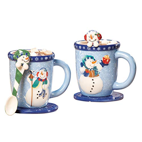 Collections Etc Snowman Holiday Mug and Spoon Gift Set