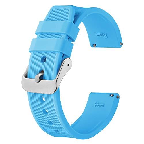 BISONSTRAP Cinturino Orologio in Silicone 18mm, Cinturino di Ricambio in Gomma a Sgancio Rapido per Bracciale Uomo Donna,Blu