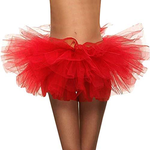 Brizz Mini-rok voor dames, 4-laags, petticoat, dansjurk, rekbaar, voor volwassenen, voor Halloween, kostuums