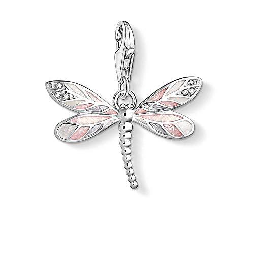 Angelazy Colgantes De Plata 925 para Mujer,Moda Cute Chainless Romántica Forma De Libélula Esmalte Rosado Encante para Damas Accesorios Joyas Regalo De Cumpleaños Parte Accesorios