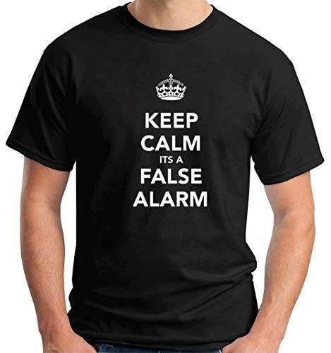 T-Shirt Hombre Negro TKC2759 Keep Calm Its A False Alarm