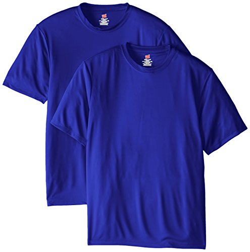 Hanes Men's Short Sleeve Cool DRI T-Shirt UPF 50+, Deep Royal, Medium (Pack of 2)