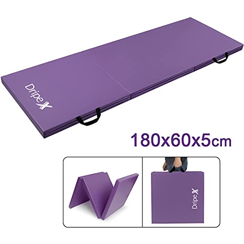 Dripex Tri Folding Gymnastics Exercise Mat 6FT Home Gym Mats with Carry Strap 5cm Thick Foam Nonslip Soft PU Leather for Yoga/Tumbling/Camping/Pilates/Martial Arts Training/Floor Workout