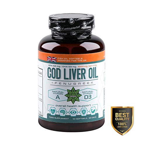 Cvetita Herbal,COD Liver + Fenugreek,1000mg,Essential Fatty acids,Vitamin A and Vitamin D3,Powerful antioxidants,Growth and Renewal of The Skin,Hair,Nails,Bones (90 softgels)