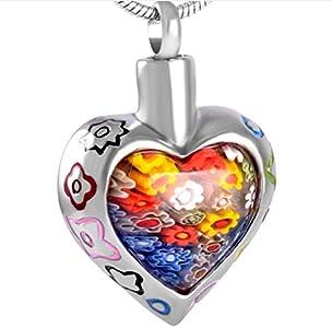 N / D 316L Colorido Esmalte Borde corazón Cristal de Murano urna de cremación joyería Cenizas Titular Recuerdo urna Conmemorativa Colgante