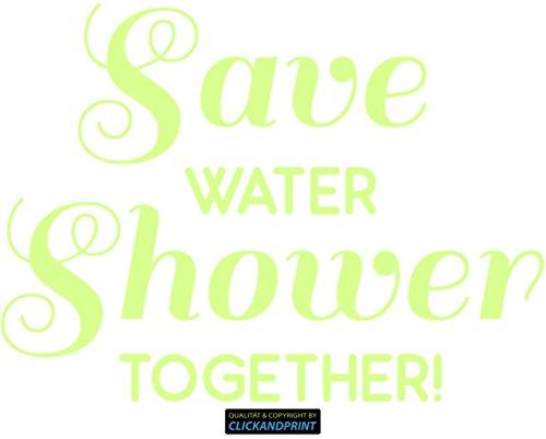 CLICKANDPRINT Aufkleber » Save water shower together!, 260x36,5cm, Nachleuchtfolie Oralux • Dekoaufkleber / Autoaufkleber / Sticker / Decal / Vinyl