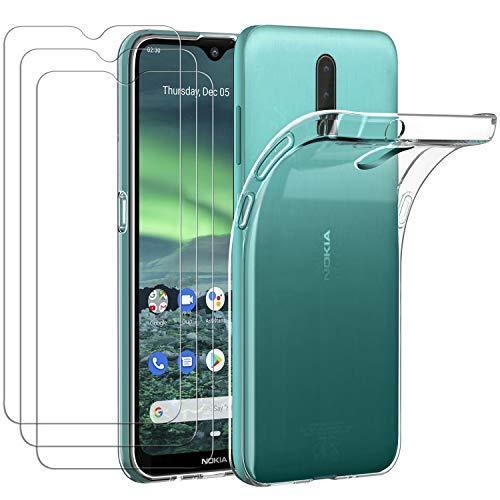 ivoler Hülle für Nokia 2.3, mit 3 Stück Panzerglas Schutzfolie, Dünne Weiche TPU Silikon Transparent Stoßfest Schutzhülle Durchsichtige Handyhülle Kratzfest Hülle