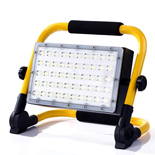 CSNDICE Foco LED Batería Recargable 50W, 3500LM 8H Iluminación, IP65 Impermeable, 12000mAh Batería Incorporada, Rotación de 360 ° Portátil, 6000K Luz Blanca