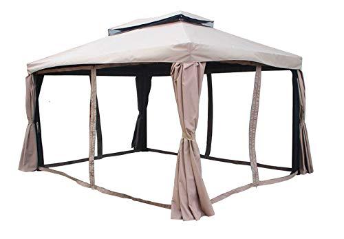 Jet-line Gartenpavillon Pergola Gazebo Hakor 3 x 4 m braun Sonnenschutz Überdachung Alu Garten Terrasse Gartenlaube