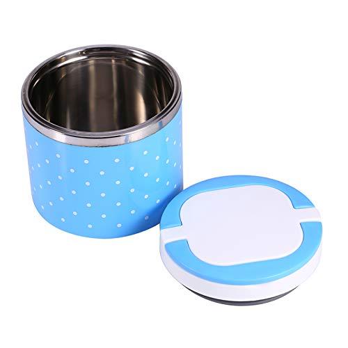 Fiambrera Térmica De Una Sola Capa Azul Sellado De Contenedores De Alimentos Caja De Almuerzo/Refrigerio Caliente Aislamiento Asas Dobles Con Anillo De Silicona Para Viajes Al Aire Libre