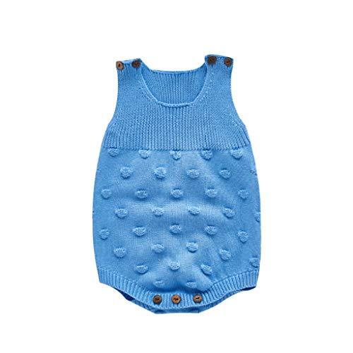 0-3 Años,SO-buts Niñito Infantil Recién Nacido Bebé Niñas Cálido Color Sólido Suéter Chaleco Mameluco Punto Crochet Body Otoño Invierno Mono Ropa (Azul,3-6 meses)