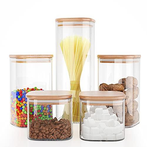 Liuruiyu Food Storage Jars 5 pcs (Square),Jars Set of 5,Glass...