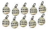 Handmade, Etiquetas Metal chapeada Plata. 10 Charms Hecho a Mano para Coser...