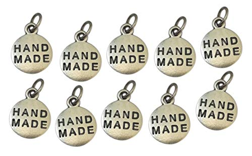 Handmade, Etiquetas Metal chapeada Plata. 10 Charms Hecho a Mano para Coser Ropa, Accesorios, Joyas, Creaciones. Idea Regalo Original para los Amantes de Decoraciones de Bricolaje. Diámetro 1,