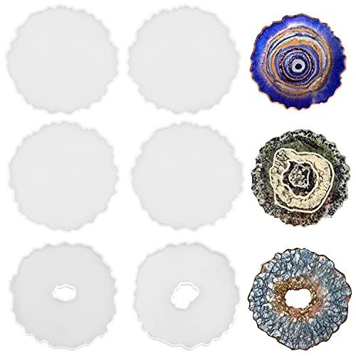 ResinWorld Paquete de 6 moldes de geoda, para resina, posavasos de resina irregular, moldes de resina epoxi para hacer posavasos de ágata