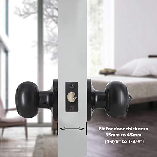 Gobrico 2 Pack Keyed-Alike Exterior Door Knobs Flat Ball Door Locksets with Same Key Matte Black Finished