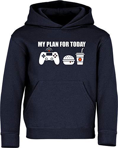 Sudadera con Capucha: My Plan for Today: Gaming - Gamer Pulóver - Regalo Niños Niño Niña - Juego de Computadora Videojuego Game-s con PC Consola Play Cumpleaños Navidad Hoodie Jersey (Azul 116)