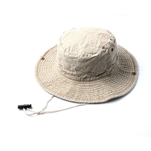 Accessoryo - Le Denim Beige Sentir Safari/Seau Chapeau avec Bascule de réglage