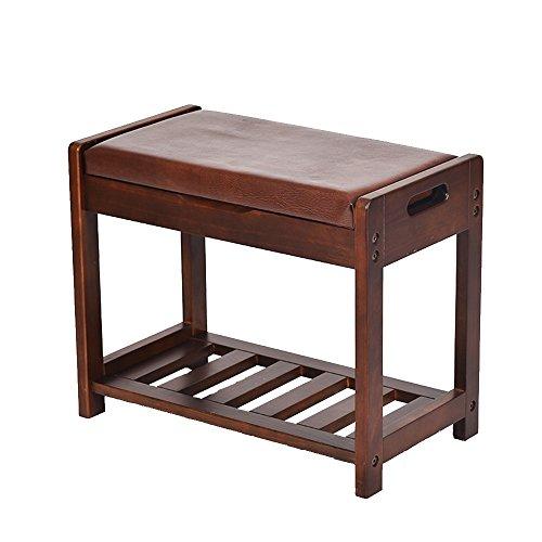 GYH Cojín de PU de dos capas de madera maciza color marrón Mango de dos caras Diseño antideslizante suave y liso adecuado para todas las ocasiones Taburete de almacenamiento de almacenamiento minimali