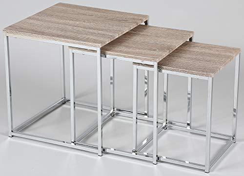 PEGANE Lot de 3 Tables gigogne en Acier chromé avec Plateau en MDF
