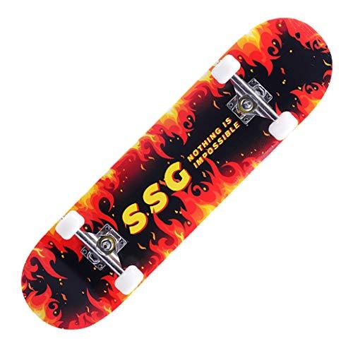 Skateboard,LCLrute 31x8 Zoll Komplette Cruiser Skateboard, 7-Lagiger Kanadischer Ahorn Double Kick Deck Concave Skate Board für Anfänger Kinder Jugendliche Erwachsene (L)