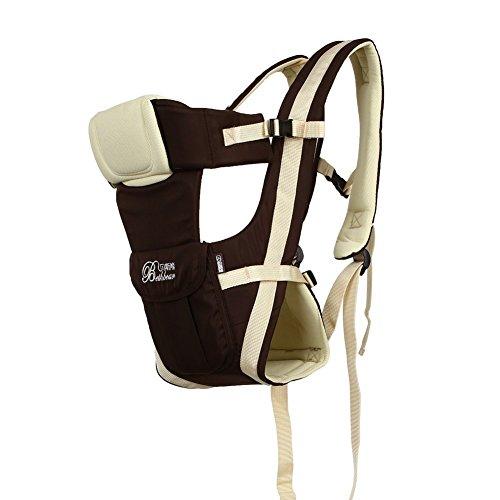 amzdeal–Mochila portabebés clásica de Ventral o dorsal, bebé Wrap multifuncional y ajustable, confort algodón Super transpirable para recién nacidos (Khaki)