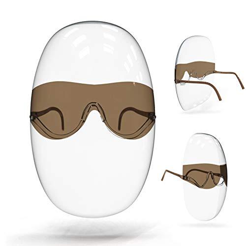 Protección facial de seguridad con marco de gafas, protección de cara completa ultra clara para la protección de ojos, nariz y boca, plástico PET anti-vaho, salpicaduras, para hombres