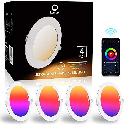 Faretti LED da Incasso per Cartongesso Lumary Wi-Fi 6W Faretti LED Ultrasottili RGBWW 480LM APP Controllo Multi Colore Dim Musica Sincronizzare Faretti a LED per Interni,Pertain Alexa Google Home-4pz
