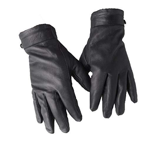 Gants De Moto En Cuir Pour Hommes Spécial Style En Hiver, Courts Vêtements Classiques De Mode Anti-Dérapants, Mode Noire (Color : Noir, Size : L)