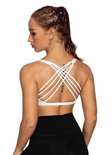 QUEENIEKE Damen Yoga Sport BH leichte Unterstützung Strappy frei BH Farbe Weiß Kreuz Größe M(8/10