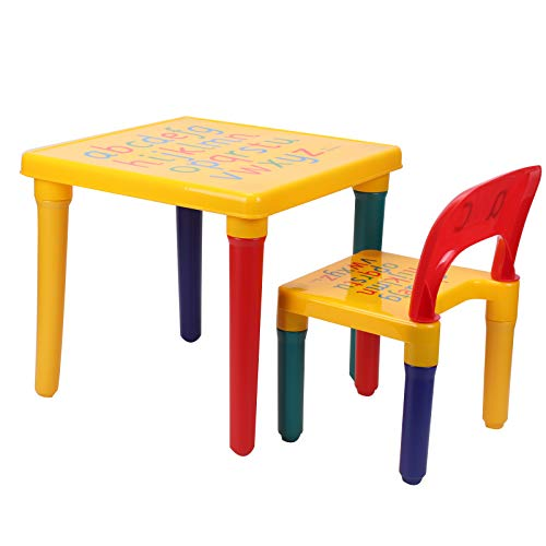 BALLSHOP ABC Alphabet Childrens Plastic Table and Chair Set - Kids Toddlers...