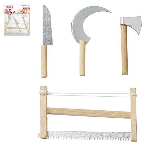 CREATIV DISCOUNT Mini-Werkzeugset ca. 5-8cm, 4 teilig